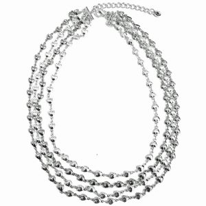 Layered silver colour dainty heart charm choker necklace