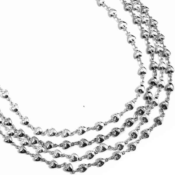 costume jewellery layered silver colour dainty heart charm choker necklace