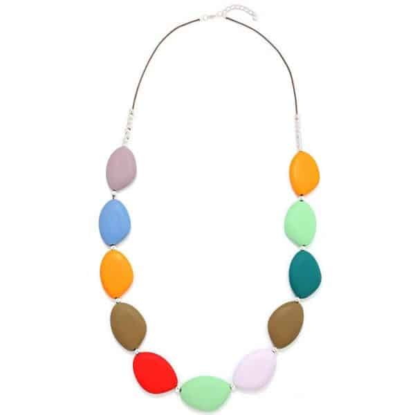 Women's rainbow pastel colour irregular chunky shaped wood on a long fitting necklace