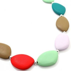 Rainbow pastel colour irregular chunky shaped wood on a long fitting necklace