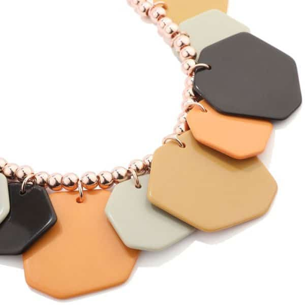 acrylic irregular shape charms on a rose gold beaded choker necklace