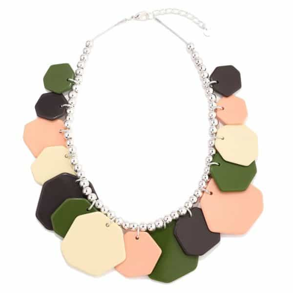 Colourful acrylic irregular shape charms on a silver beaded choker necklace