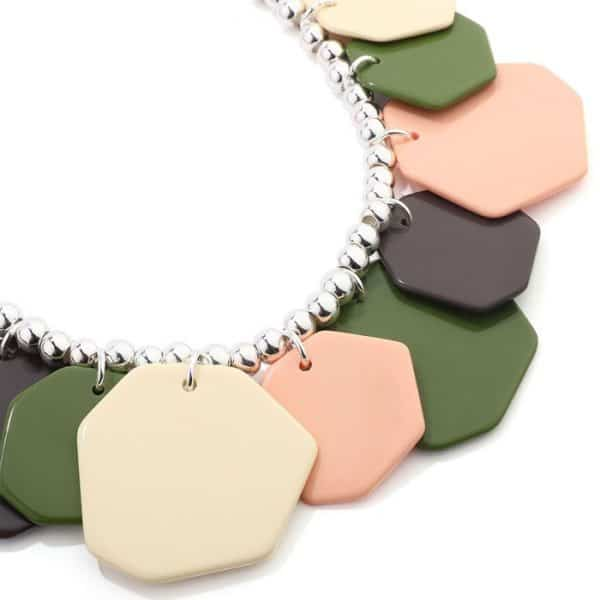 Colourful irregular shape charms on a silver beaded choker necklace
