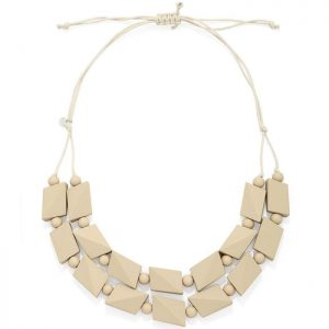 Women's almond pastel colour chunky irregular shape beaded wood necklace