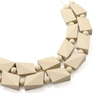 Women's almond colour chunky irregular shape beaded wood necklace