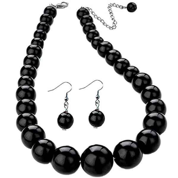 Black colour bead choker necklace and matching earrings fashion jewellery set
