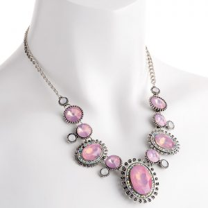Pink crystal with white opal stone chain choker necklace