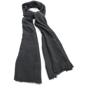 Dark grey colour crinkle finish scarf