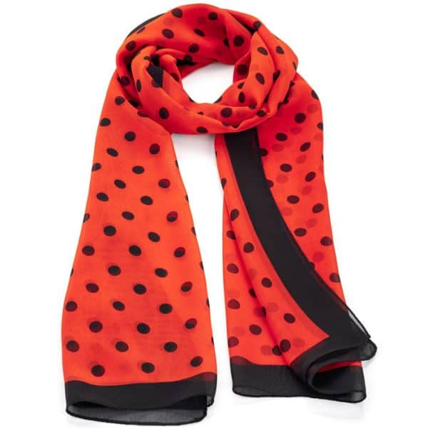 Red and black tone polka dot design scarf