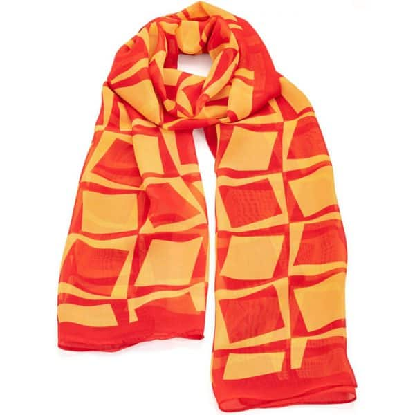 Red and yellow square printed finish scarf