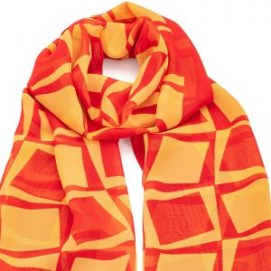 Red and yellow square printed scarf