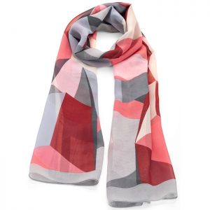 Colourful pastel colour abstract design printed scarf
