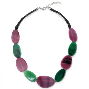 Large purple and green colour resin pebble stone style on a black cord necklace