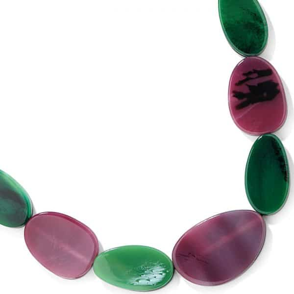 Costume jewellery large purple and green colour resin pebble stone style on a black cord necklace