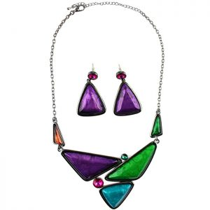 Large chunky colourful triangular statement choker necklace and earring jewellery set
