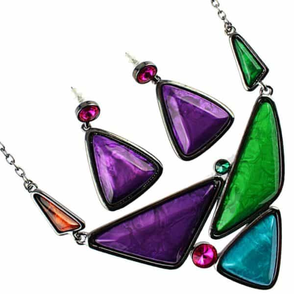 Chunky colourful triangular statement choker necklace and earring jewellery set