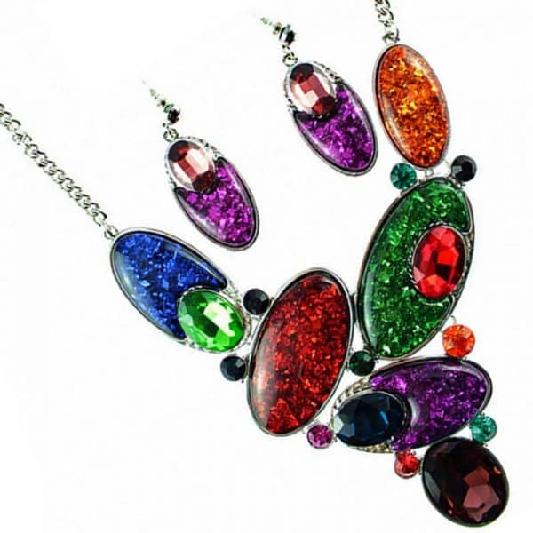 Women's large chunky rainbow colour statement choker necklace and earring jewellery set