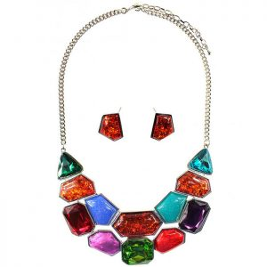 Large chunky rainbow colourful style statement choker necklace and earring jewellery set