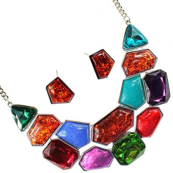 Chunky rainbow colourful style statement choker necklace and earring jewellery set