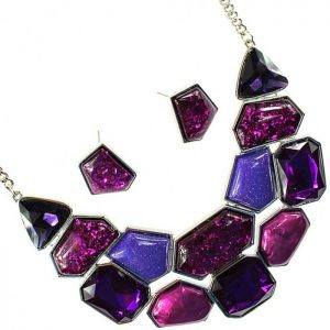 Large colourful style statement choker necklace and earring jewellery set