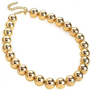 Gold colour chunky large ball bead choker necklace a costume jewellery design