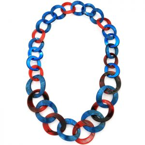 Women's beautiful Multi textured blue and red round hoop necklace