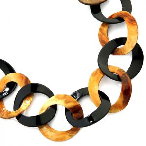 Women's beautiful graduated multi-textured acrylic resin brown and black round hoop necklace