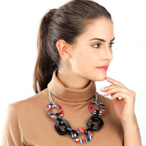 Fashion jewellery large multi coloured tartan and black acrylic resin statement choker necklace