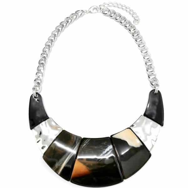 Costume jewellery colourful acrylic resin jewellery with a silver colour collar tribal statement necklace