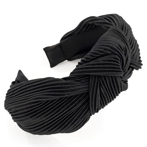 Black crinkle effect knot design headband