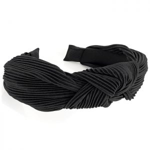 Black crinkle effect knot style headband