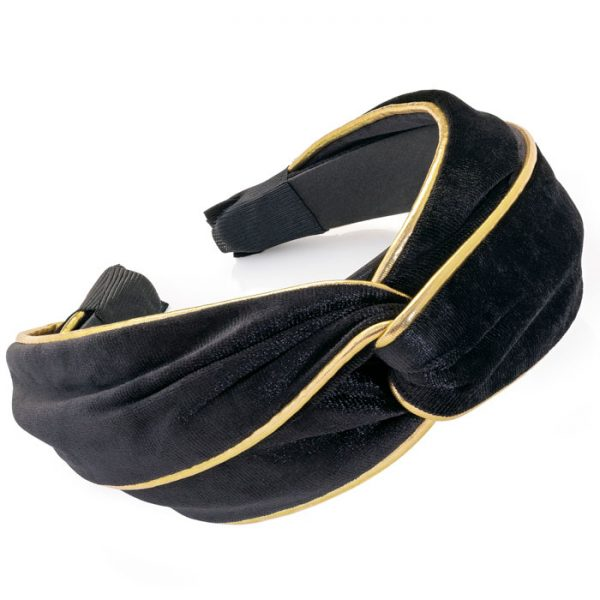 Black and gold colour velvet look knot design headband