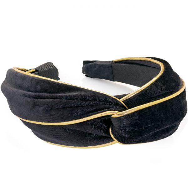Black and gold velvet look knot design headband