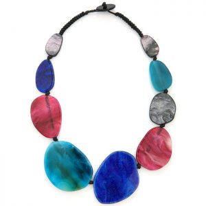 Chunky acrylic resin geometric large shapes on a choker necklace