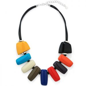 Costume jewellery rainbow colour necklace with pebbles in shapes of a rectangle and two square shapes on both sides