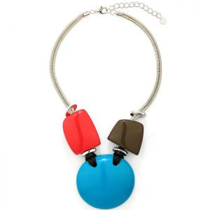 Glossy acrylic resin statement necklace with multi-coloured shapes of circle, pebbles and square