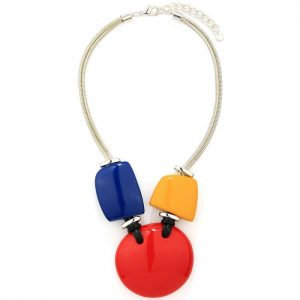 Glossy acrylic resin statement necklace with multi-coloured shapes of circle, square and pebbles