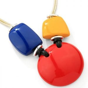 Fashion glossy acrylic resin necklace with multi-coloured shapes of circle, square and pebbles