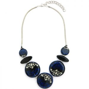 Fashion jewellery blue colour large round statement necklace