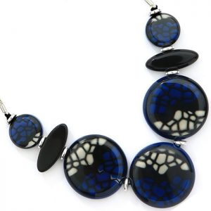 costume jewellery blue colour large round statement necklace