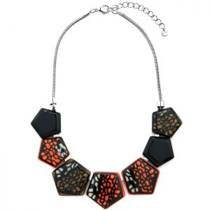 Fashion jewellery pentagon shaped acrylic resin with a pattern design on a silver colour chain