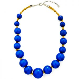 Large wooden tribal chunky blue colour bead graduated necklace