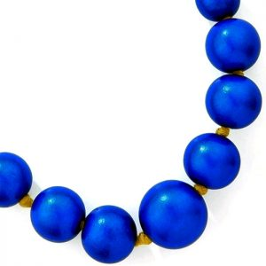 Large wooden tribal chunky blue colour bead necklace