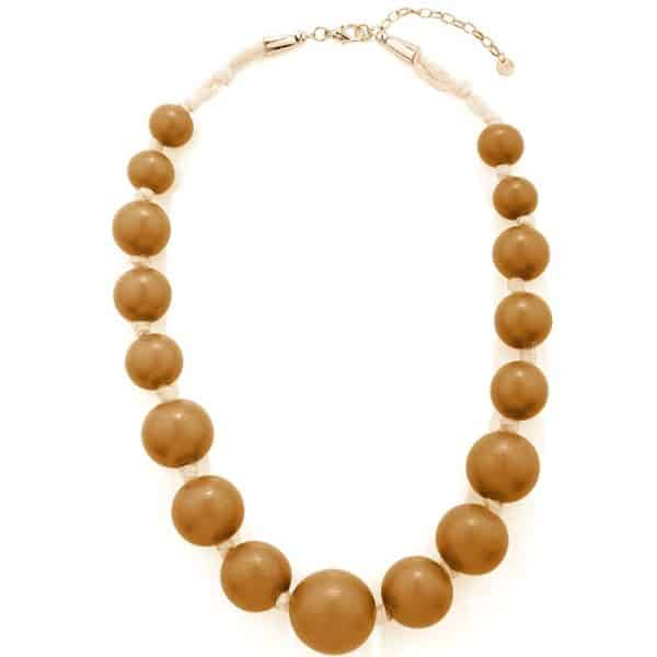 Large wooden tribal chunky beige colour bead necklace