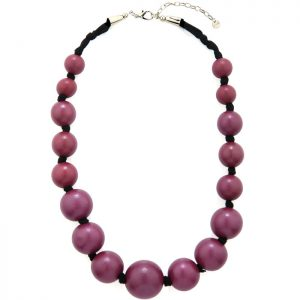 Large wooden tribal chunky purple colour bead graduated necklace