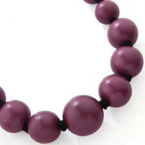 Costume jewellery large wooden tribal chunky purple colour bead graduated necklace