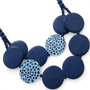 Costume jewellery blue leopard print chunky flat circle shape on a beaded wooden necklace