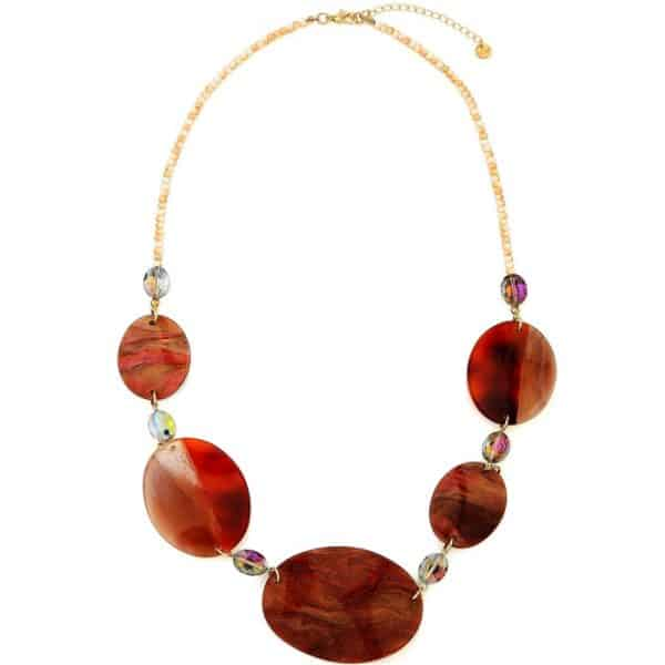Costume jewellery large brown resin oval-shaped disc with stones on a long necklace