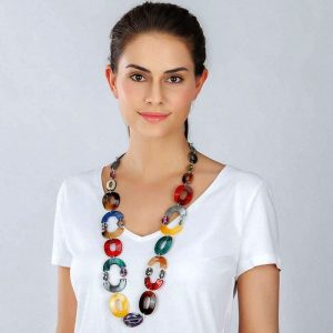 Stunning women's multicoloured oval shaped acrylic resin and crystal long fitting necklace
