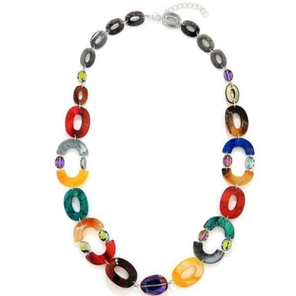 Fashion jewellery multicoloured oval shaped acrylic resin and crystal long fitting necklace